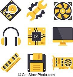 hardware, satz, edv, vektor, heiligenbilder