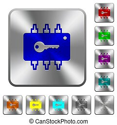 Hardware security rounded square steel buttons