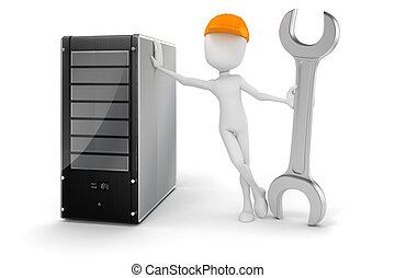 hardware, server, uomo, manutenzione, 3d