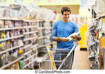 hardware, shoppen, junger, kaufmannsladen, mann