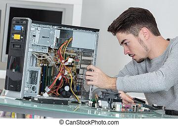 hardware, técnico, computadora