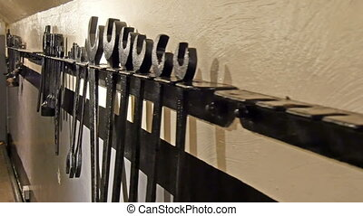 Hardware tool hanging on the wall