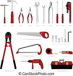 hardware, værktøj, sæt, vektor