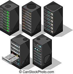 hardware, vector, base de datos, equipment., objects., habitación, computadora, 3d, almacenamiento, conjunto, centro, isométrico, telecomunicación, server., datos, torres