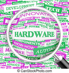 HARDWARE. Word cloud illustration. Tag cloud concept collage...