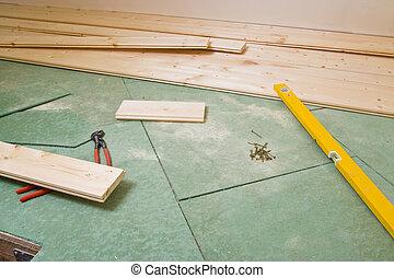 hardwood, construção, chão