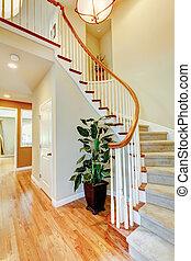 hardwood, corredor, floor., escadaria, curvado