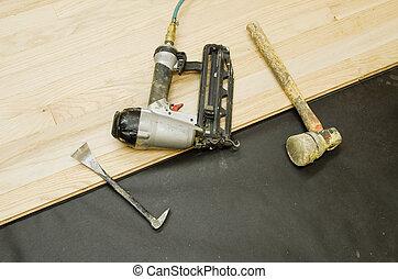 hardwood, ferramentas, pavimentando