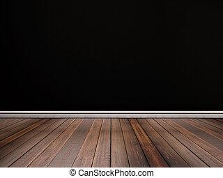 Hardwood floor with black wall