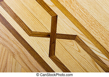 Hardwood parquet floor with detailed pattern