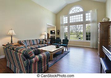 hardwood, sala de estar, pavimentando
