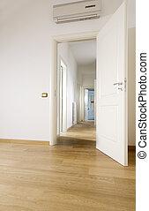 hardwood, sala, vazio, chão