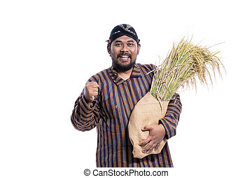 hardworker traditional farmer with fist palm isolated