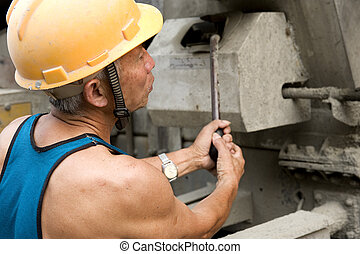 hardworking laborer on construction site