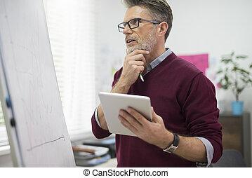 Hardworking man with digital tablet