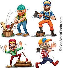 Hardworking woodmen - Illustration of the hardworking...