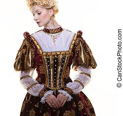 hardy, królowa, w, królewski, strój, odizolowany, na białym