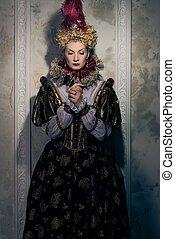hardy, królowa, w, królewski, strój