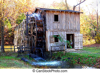 """Reconstruction of old gristmill - once known as """"Morgan's Mill"""" 15 miles south of Hardy, Ark."""