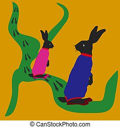 Hare and female hare, jumping along the road, tracks, silhouette-cartoon on a yellow background,