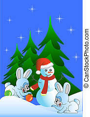 Hare and snowman (vector version)