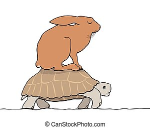 Hare and tortoise - EPS8 editable vector cartoon of a hare...