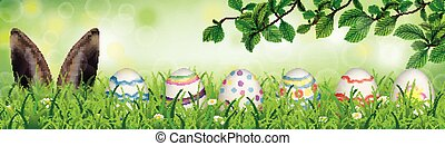 Hare Colored Nature Easter Eggs Grass Beech Twigs Header