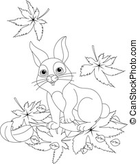 Hare coloring page - Hare looks at the falling leaves