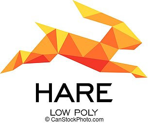 Hare geometrical sign, rabbit abstract polygonal vector logo template. Origami orange color low poly wild animals icon.