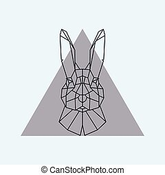 hare., geometrico, testa