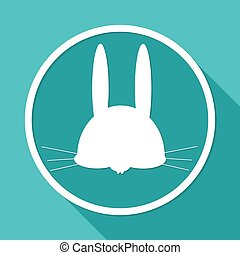 hare icon on white circle with a long shadow
