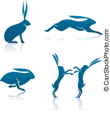 Hare Icons - These are four vector icons of Hares (sitting,...