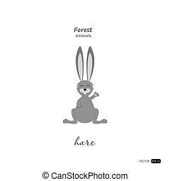 Hare in cartoon style on white background.
