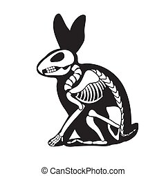 Hare is a black skeleton silhouette on a white isolated background. Vector image