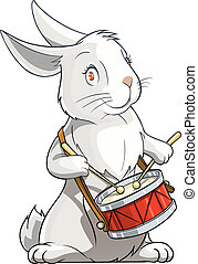 hare playing drum vector illustration isolated on white ...