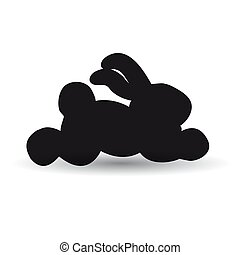 Hare running black white background. Vector image for website.