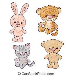 hare., set, teddy, drawing., beer, hand, tiger, vector, illustratie, katje, welp