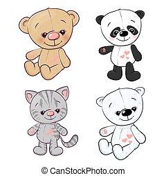 hare., set, teddy, drawing., beer, hand, vector, illustratie, katje, panda, welp