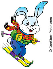 Hare skiing. - Young hare skiing. Vector art-illustration on...