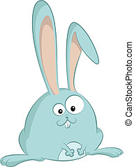 Hare - Vector image of cyan cartoon funny hare