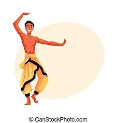 harem, interprète, pantalon, danseur, traditionnel, indien, mâle, bollywood