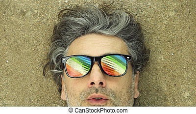 haren, strand, grijze