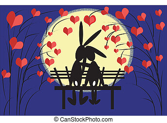 Hares love - Love of the hares on the bench in night.