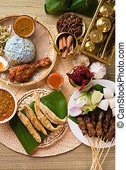 hari, malaysien, lebensmittel, raya, verschieden, populär,...