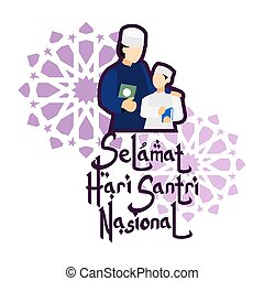 Translation: Happy Santri Day. Santri is the definition for someone who follows Islamic religious education at a pesantren (traditional Islamic school), vector illustration.