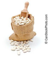 Haricot beans in burlap bag