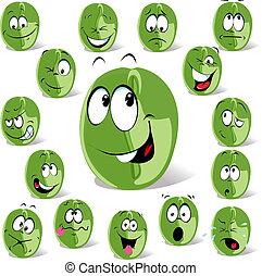 haricot, café, dessin animé, vert