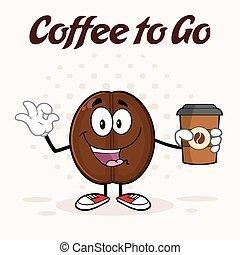 haricot, heureux, café, dessin animé