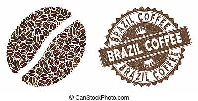 haricot, timbre, détresse, café, brésil, mosaïque