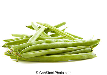 Green beans on a pile isolated over white